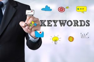 Businessman doing keyword research